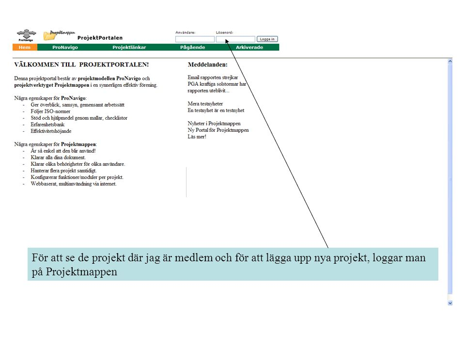 För att se de projekt där jag är medlem och för att lägga upp nya projekt, loggar man på Projektmappen