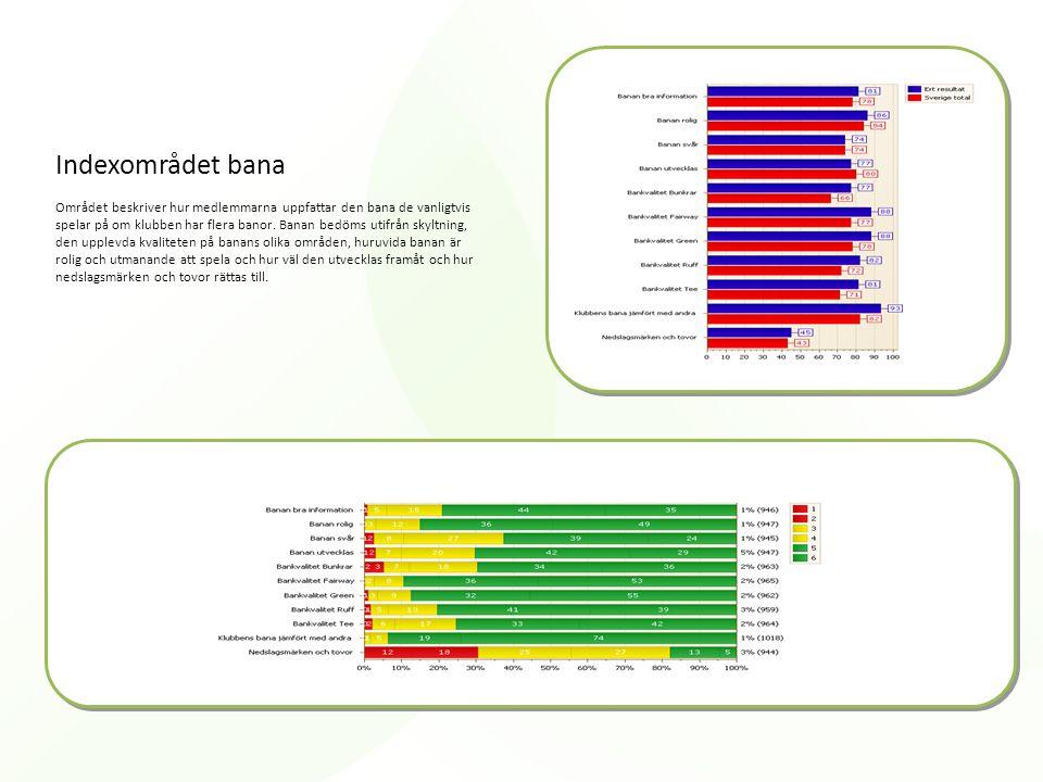 Indexområdet bana Området beskriver hur medlemmarna uppfattar den bana de vanligtvis spelar på om klubben har flera banor. Banan bedöms utifrån skyltn