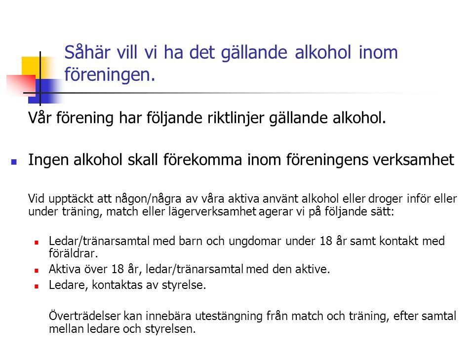 Såhär vill vi ha det gällande narkotika inom föreningen Vår förening har följande ställningstagande och riktlinjer gällande narkotika.