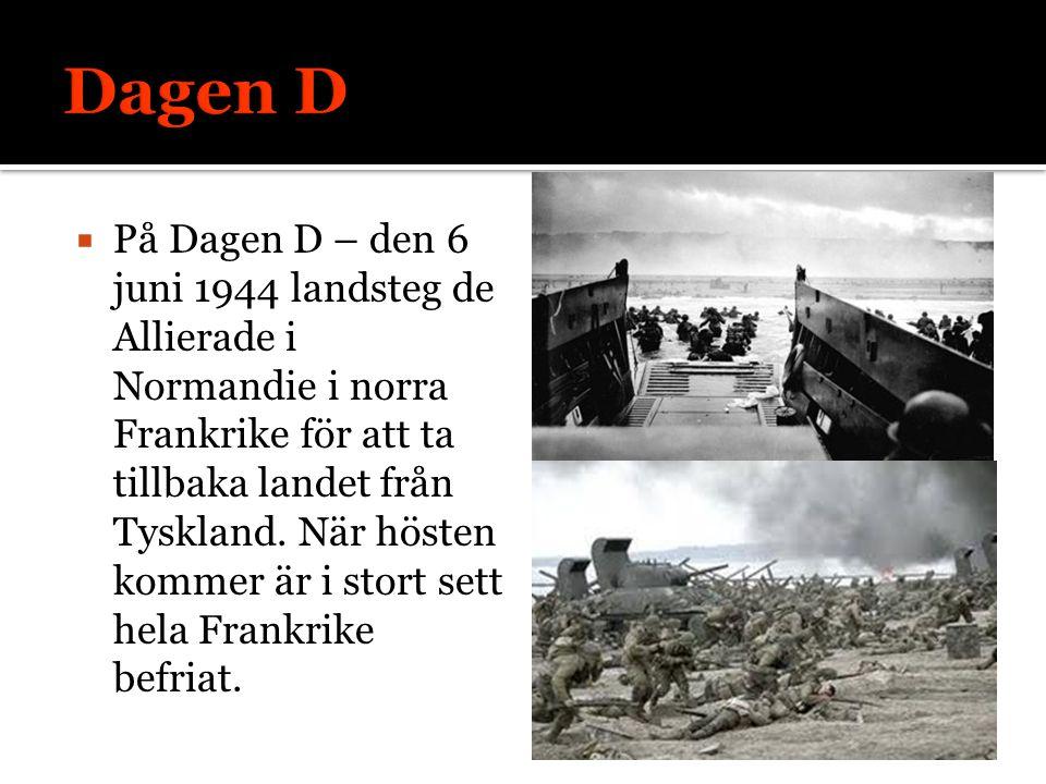  På Dagen D – den 6 juni 1944 landsteg de Allierade i Normandie i norra Frankrike för att ta tillbaka landet från Tyskland. När hösten kommer är i st