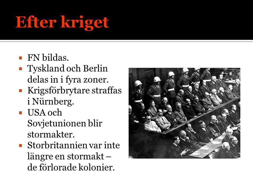  FN bildas.  Tyskland och Berlin delas in i fyra zoner.  Krigsförbrytare straffas i Nürnberg.  USA och Sovjetunionen blir stormakter.  Storbritan