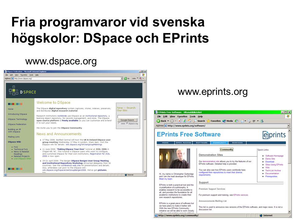 Fria programvaror vid svenska högskolor: DSpace och EPrints www.dspace.org www.eprints.org