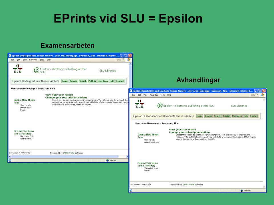 EPrints vid SLU = Epsilon Examensarbeten Avhandlingar
