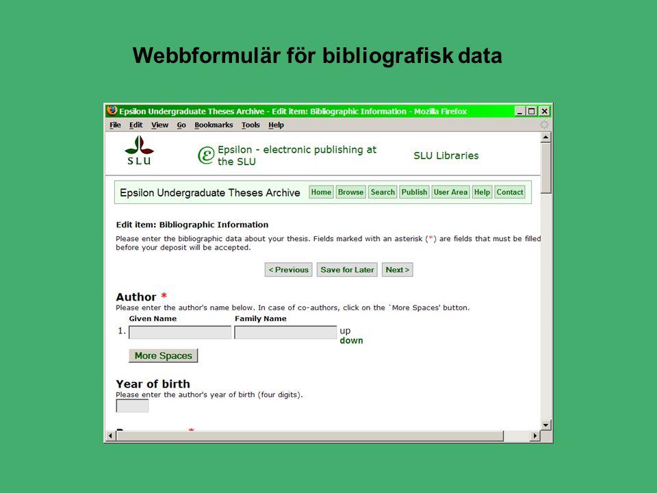 Webbformulär för bibliografisk data