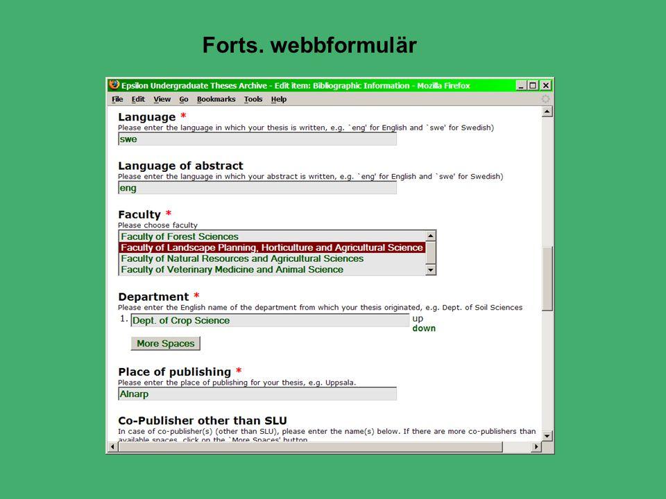 Forts. webbformulär