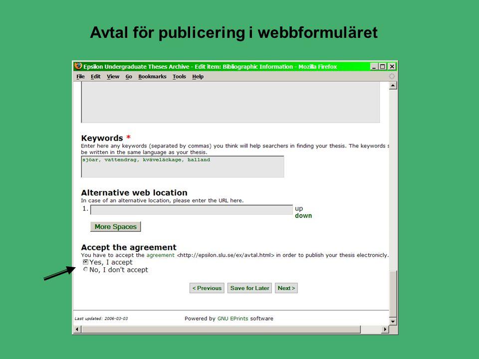 Avtal för publicering i webbformuläret
