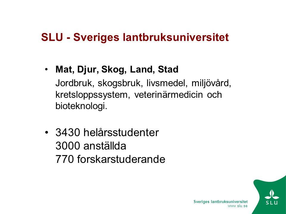 Sveriges lantbruksuniversitet www.slu.se SLU - Sveriges lantbruksuniversitet •Mat, Djur, Skog, Land, Stad Jordbruk, skogsbruk, livsmedel, miljövård, kretsloppssystem, veterinärmedicin och bioteknologi.
