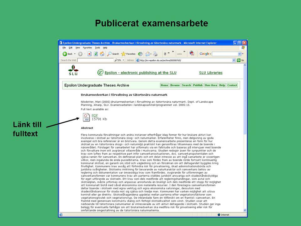 Publicerat examensarbete Länk till fulltext