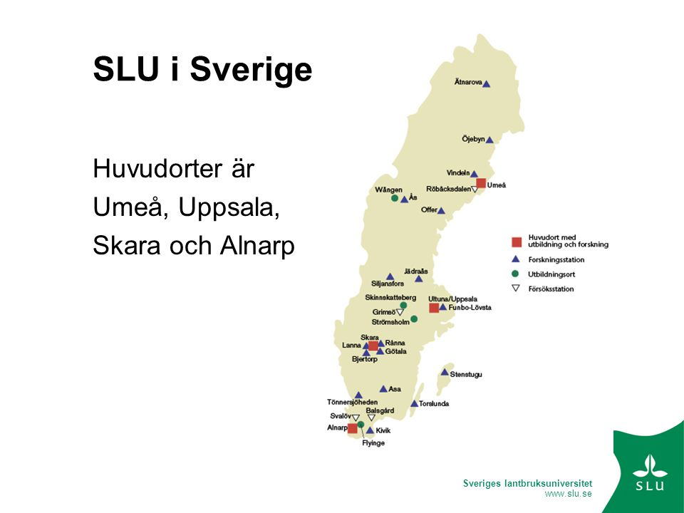 Sveriges lantbruksuniversitet www.slu.se Inmatning 1.Registrera och logga in.