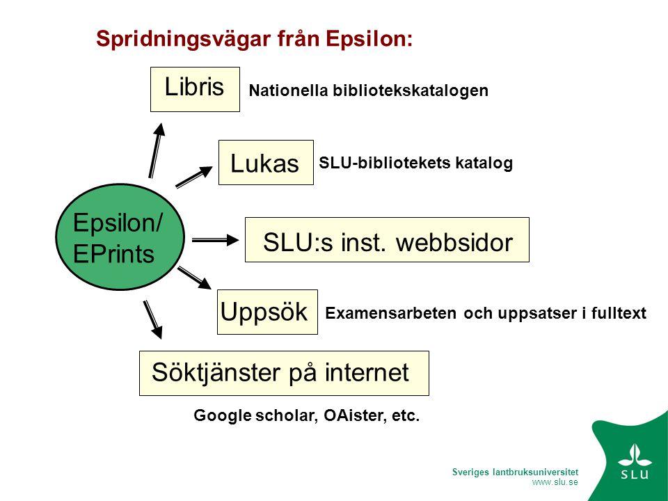 Sveriges lantbruksuniversitet www.slu.se Epsilon/ EPrints Libris Lukas SLU:s inst. webbsidor Uppsök Söktjänster på internet Spridningsvägar från Epsil