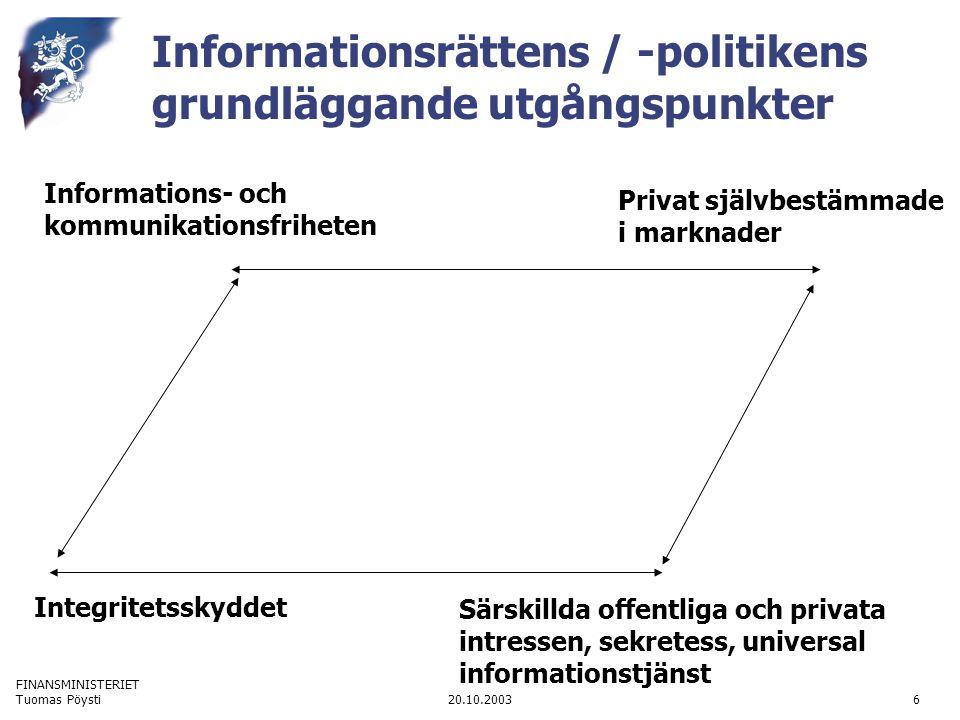 FINANSMINISTERIET 20.10.2003Tuomas Pöysti6 Informationsrättens / -politikens grundläggande utgångspunkter Privat självbestämmade i marknader Informations- och kommunikationsfriheten Integritetsskyddet Särskillda offentliga och privata intressen, sekretess, universal informationstjänst