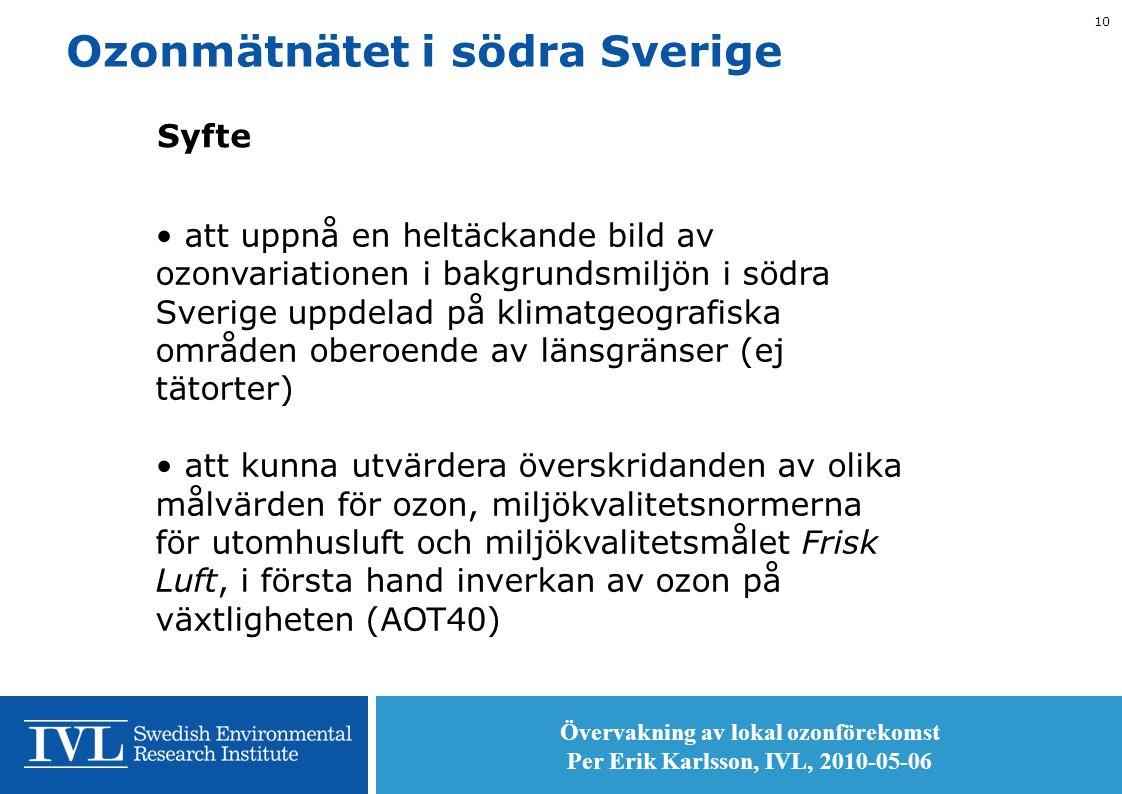 Övervakning av lokal ozonförekomst Per Erik Karlsson, IVL, 2010-05-06 10 Ozonmätnätet i södra Sverige Syfte • att uppnå en heltäckande bild av ozonvariationen i bakgrundsmiljön i södra Sverige uppdelad på klimatgeografiska områden oberoende av länsgränser (ej tätorter) • att kunna utvärdera överskridanden av olika målvärden för ozon, miljökvalitetsnormerna för utomhusluft och miljökvalitetsmålet Frisk Luft, i första hand inverkan av ozon på växtligheten (AOT40)