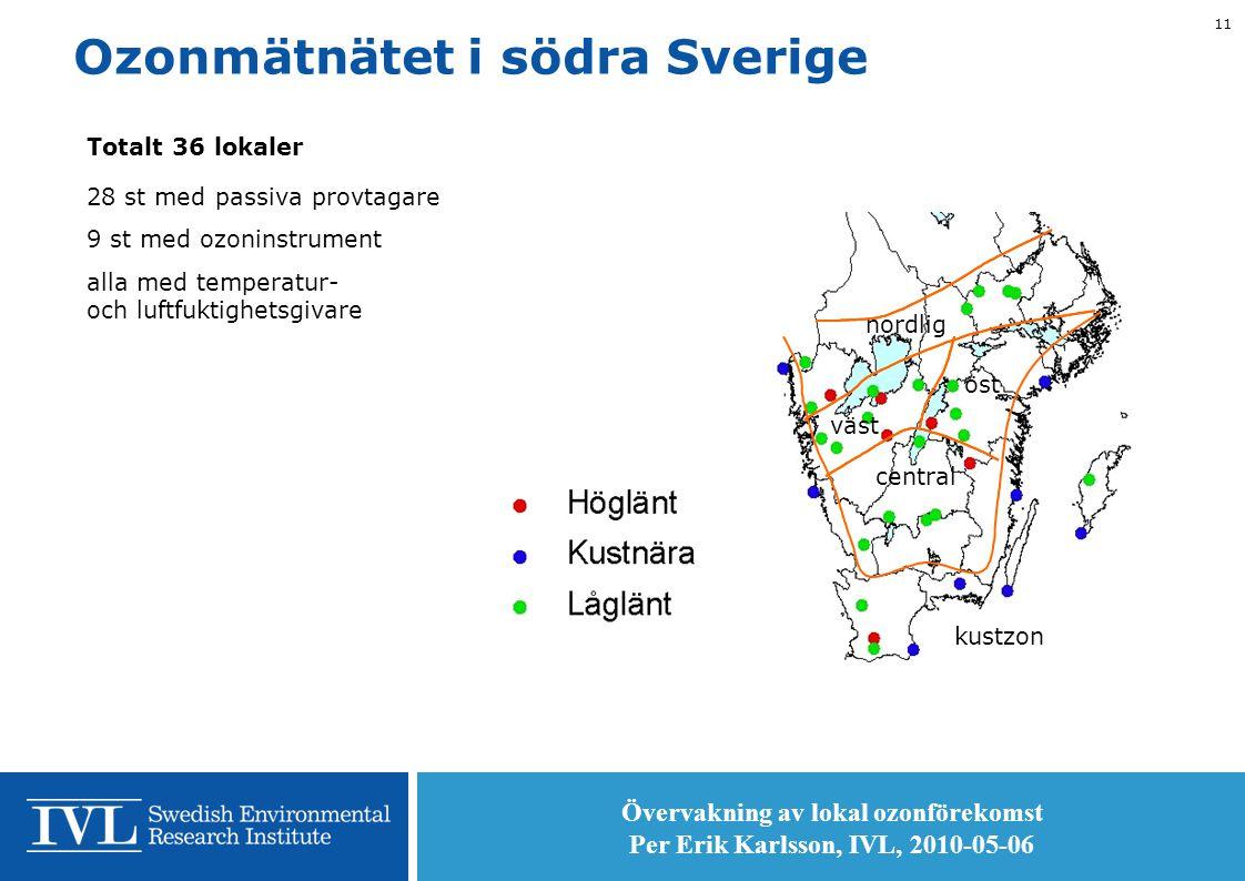 Övervakning av lokal ozonförekomst Per Erik Karlsson, IVL, 2010-05-06 11 Ozonmätnätet i södra Sverige Totalt 36 lokaler 28 st med passiva provtagare 9 st med ozoninstrument alla med temperatur- och luftfuktighetsgivare kustzon central öst väst nordlig