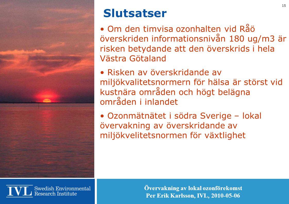 Övervakning av lokal ozonförekomst Per Erik Karlsson, IVL, 2010-05-06 15 Slutsatser • Om den timvisa ozonhalten vid Råö överskriden informationsnivån 180 ug/m3 är risken betydande att den överskrids i hela Västra Götaland • Risken av överskridande av miljökvalitetsnormern för hälsa är störst vid kustnära områden och högt belägna områden i inlandet • Ozonmätnätet i södra Sverige – lokal övervakning av överskridande av miljökvelitetsnormen för växtlighet