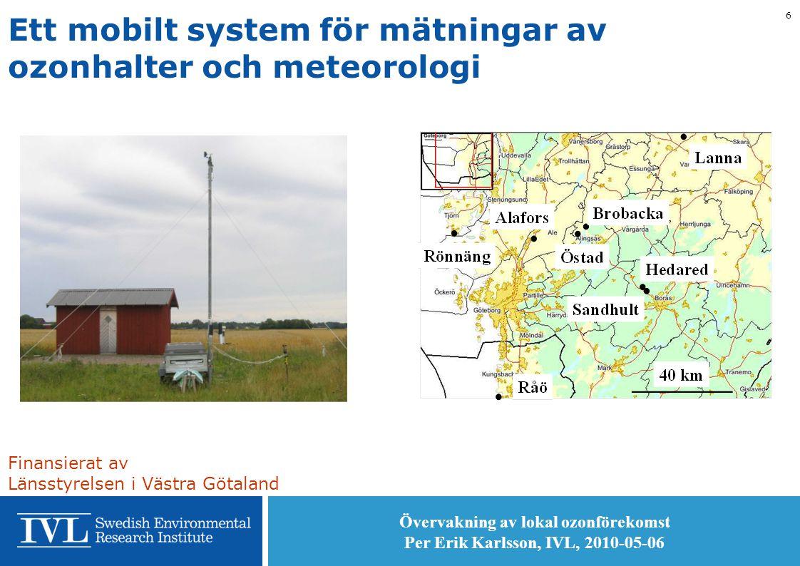 Övervakning av lokal ozonförekomst Per Erik Karlsson, IVL, 2010-05-06 6 Ett mobilt system för mätningar av ozonhalter och meteorologi Finansierat av Länsstyrelsen i Västra Götaland