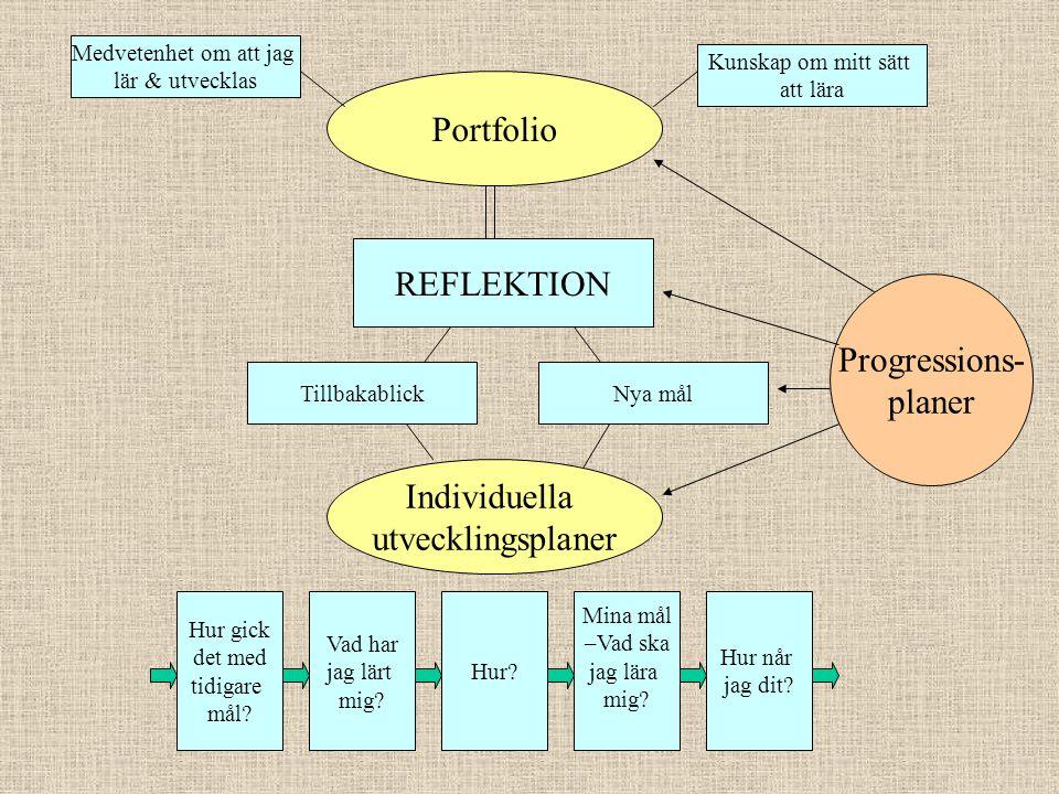 Portfolio Individuella utvecklingsplaner Medvetenhet om att jag lär & utvecklas Kunskap om mitt sätt att lära REFLEKTION Progressions- planer TillbakablickNya mål Hur gick det med tidigare mål.