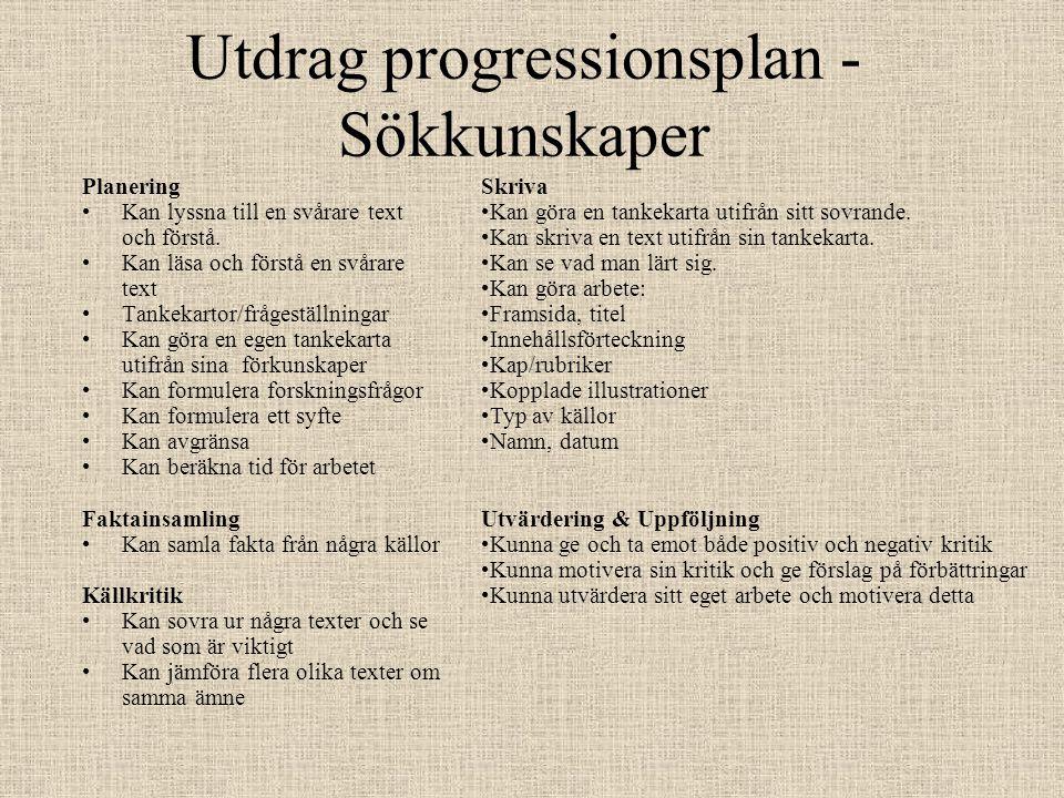 Utdrag progressionsplan - Sökkunskaper Planering •Kan lyssna till en svårare text och förstå.