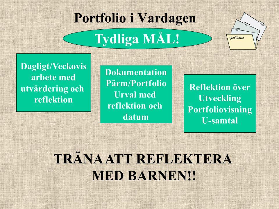 Portfolio i Vardagen Dagligt/Veckovis arbete med utvärdering och reflektion Dokumentation Pärm/Portfolio Urval med reflektion och datum Reflektion öve