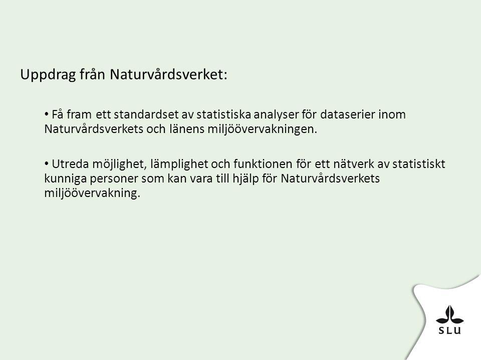 Uppdrag från Naturvårdsverket: • Få fram ett standardset av statistiska analyser för dataserier inom Naturvårdsverkets och länens miljöövervakningen.
