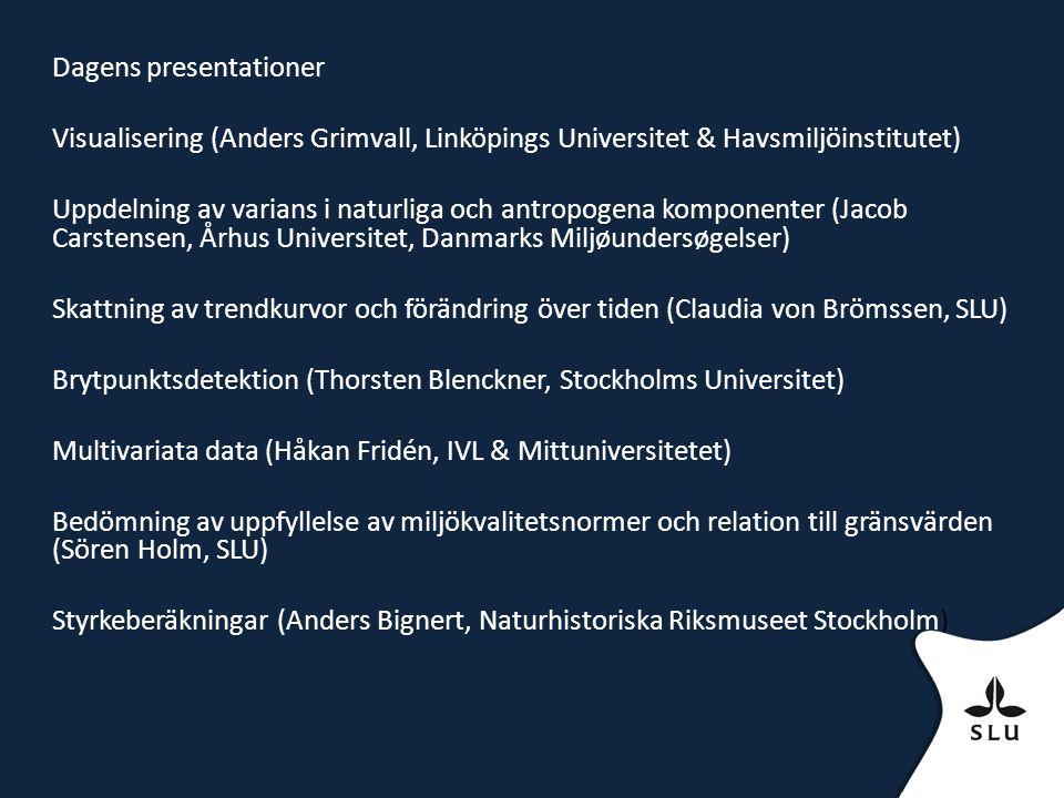 Dagens presentationer Visualisering (Anders Grimvall, Linköpings Universitet & Havsmiljöinstitutet) Uppdelning av varians i naturliga och antropogena komponenter (Jacob Carstensen, Århus Universitet, Danmarks Miljøundersøgelser) Skattning av trendkurvor och förändring över tiden (Claudia von Brömssen, SLU) Brytpunktsdetektion (Thorsten Blenckner, Stockholms Universitet) Multivariata data (Håkan Fridén, IVL & Mittuniversitetet) Bedömning av uppfyllelse av miljökvalitetsnormer och relation till gränsvärden (Sören Holm, SLU) Styrkeberäkningar (Anders Bignert, Naturhistoriska Riksmuseet Stockholm)