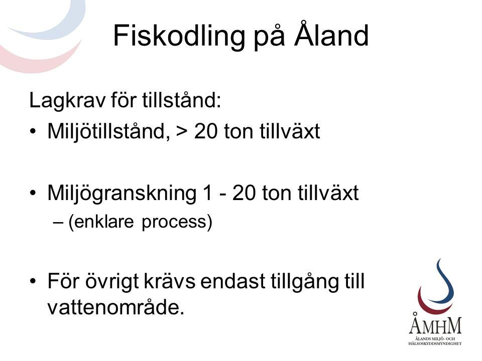 Fiskodling på Åland Lagkrav för tillstånd: •Miljötillstånd, > 20 ton tillväxt •Miljögranskning 1 - 20 ton tillväxt –(enklare process) •För övrigt kräv