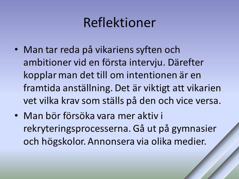 Reflektioner • Man tar reda på vikariens syften och ambitioner vid en första intervju. Därefter kopplar man det till om intentionen är en framtida ans