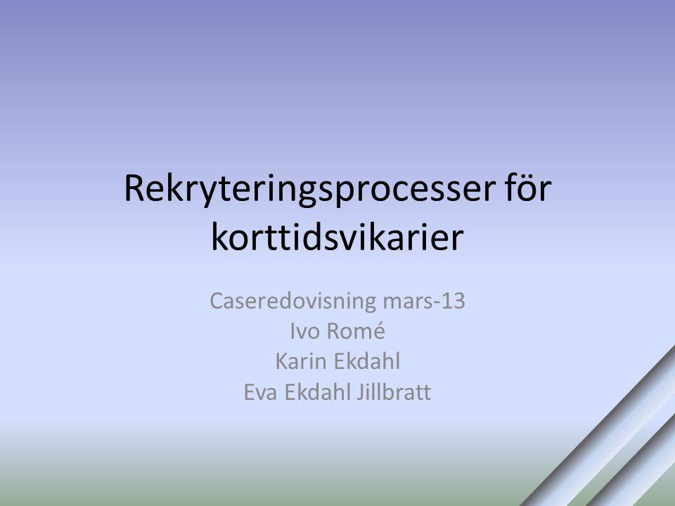 Rekryteringsprocesser för korttidsvikarier Caseredovisning mars-13 Ivo Romé Karin Ekdahl Eva Ekdahl Jillbratt