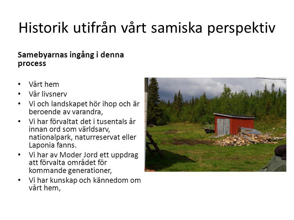 Historik utifrån vårt samiska perspektiv Samebyarnas ingång i denna process • Vårt hem • Vår livsnerv • Vi och landskapet hör ihop och är beroende av varandra, • Vi har förvaltat det i tusentals år innan ord som världsarv, nationalpark, naturreservat eller Laponia fanns.