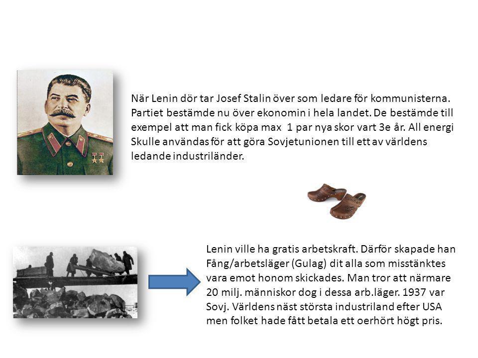 När Lenin dör tar Josef Stalin över som ledare för kommunisterna. Partiet bestämde nu över ekonomin i hela landet. De bestämde till exempel att man fi