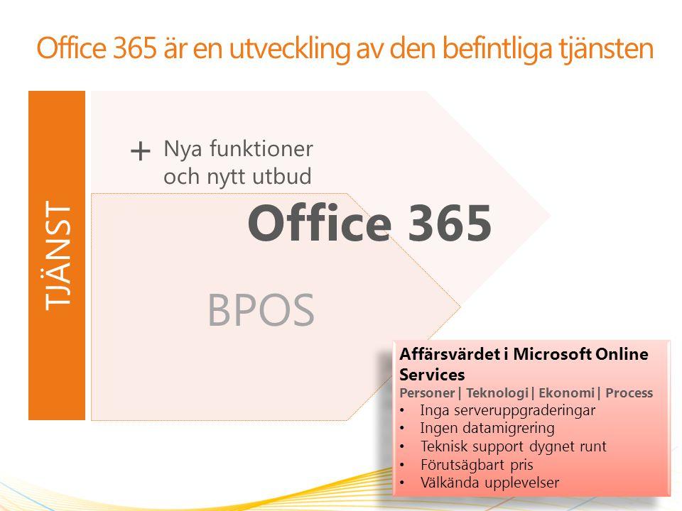 BPOS Office 365 är en utveckling av den befintliga tjänsten 2 Office 365 Affärsvärdet i Microsoft Online Services Personer | Teknologi | Ekonomi | Pro