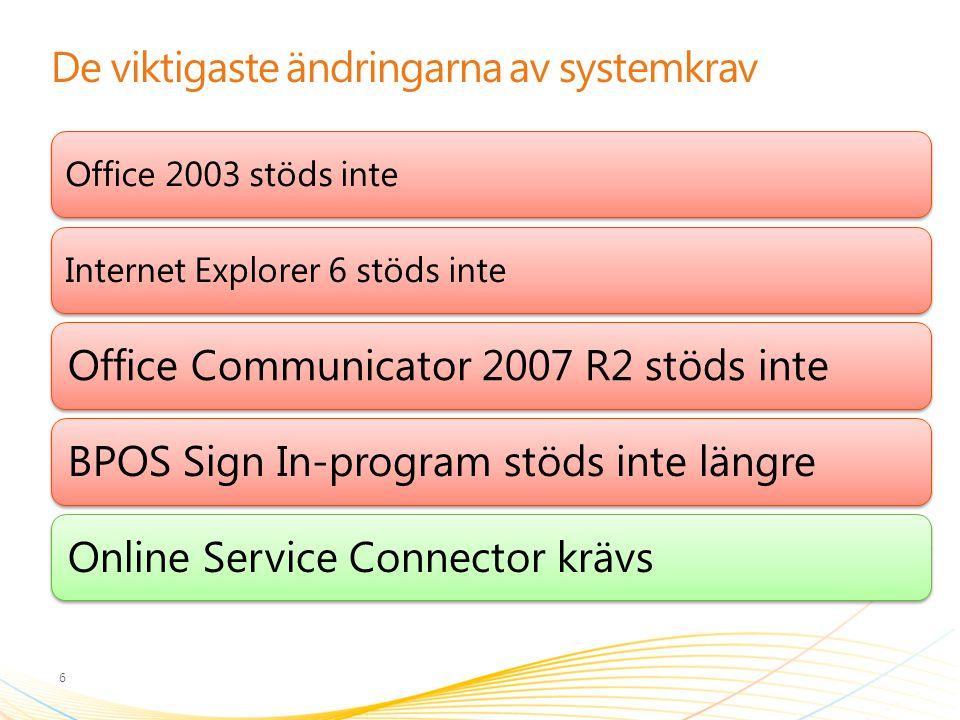 De viktigaste ändringarna av systemkrav 6 Office 2003 stöds inteInternet Explorer 6 stöds inte Office Communicator 2007 R2 stöds inteBPOS Sign In-prog
