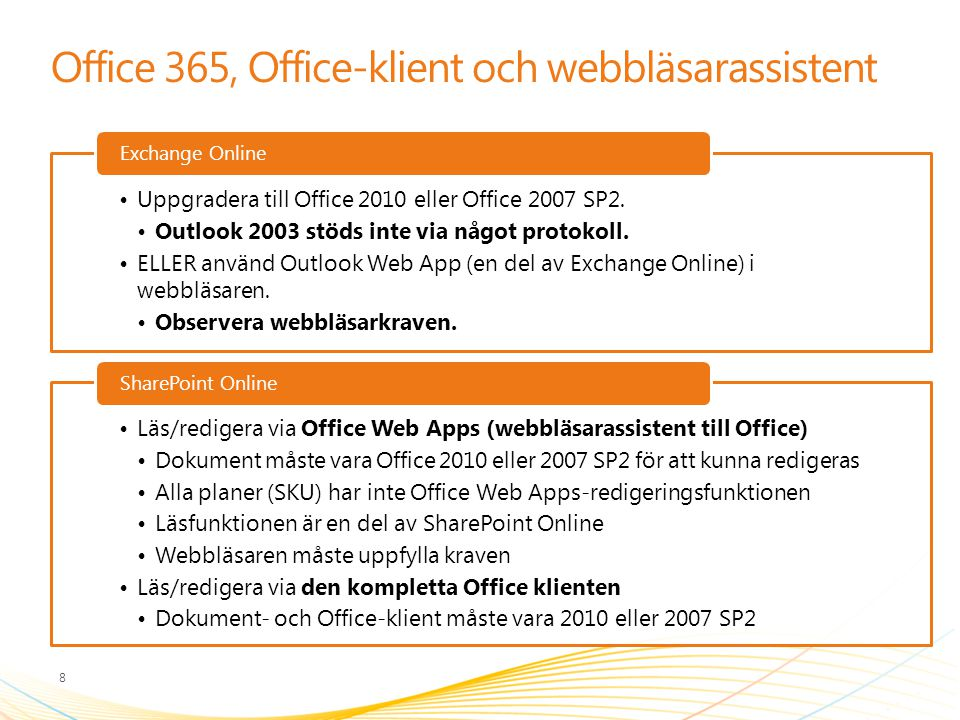 Office 365, Office-klient och webbläsarassistent Uppgradera till Office 2010 eller Office 2007 SP2. Outlook 2003 stöds inte via något protokoll. ELLER