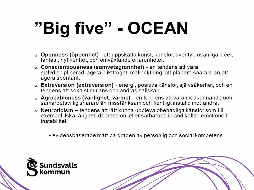 """""""Big five"""" - OCEAN  Openness (öppenhet) - att uppskatta konst, känslor, äventyr, ovanliga idéer, fantasi, nyfikenhet, och omväxlande erfarenheter. """