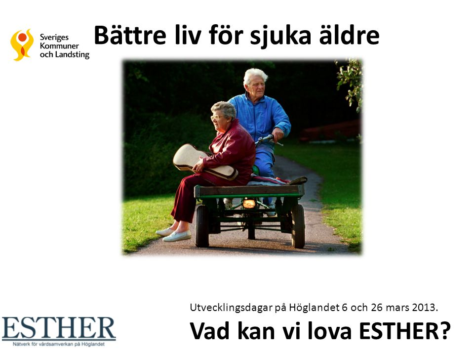 Vi lovar dig som är äldre och sjuk att du: Kan åldras i trygghet och självbestämmande med tillgång till en god vård och omsorg Får den vård du behöver när du behöver den på det sätt du önskar få den Inte märker våra organisatoriska gränser Möter kompetens, säkerhet, hög kvalitet, gott bemötande Ska känna att vi gör vårt bästa för att ge dig en värdig sista tid i livet God vård i livets slutskede Preventivt arbetssätt Sammanhållen vård och omsorg God vård vid demenssjukdom God läkemedelsbehandling Bättre liv för sjuka äldre - målområde Tillsammans kan vi göra skillnad.