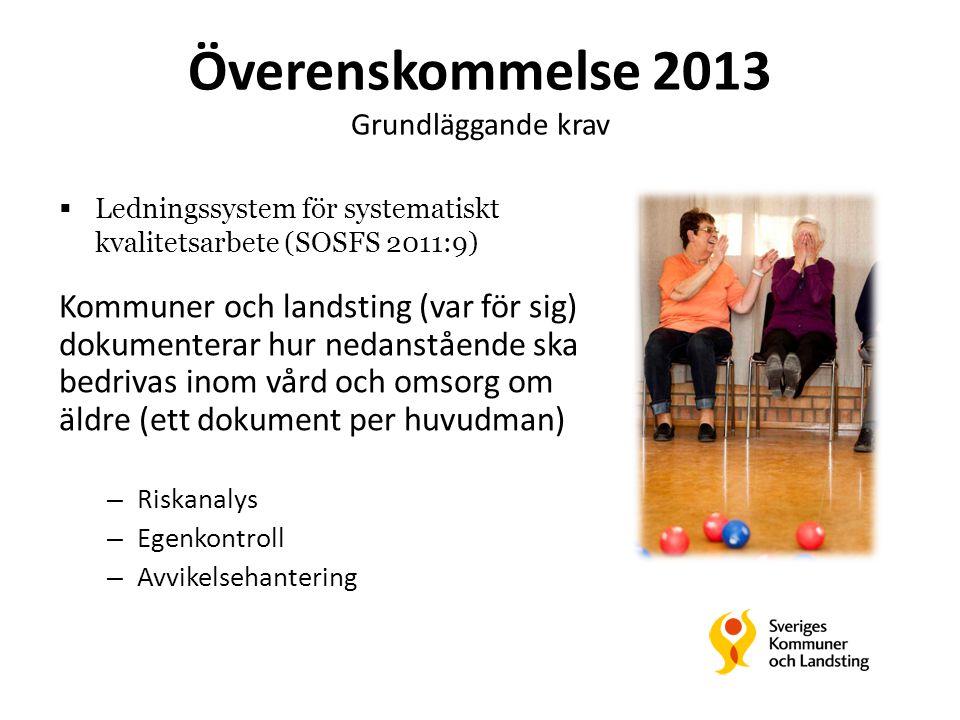 Överenskommelse 2013 Grundläggande krav Kommuner och landsting (var för sig) dokumenterar hur nedanstående ska bedrivas inom vård och omsorg om äldre (ett dokument per huvudman) – Riskanalys – Egenkontroll – Avvikelsehantering  Ledningssystem för systematiskt kvalitetsarbete (SOSFS 2011:9)