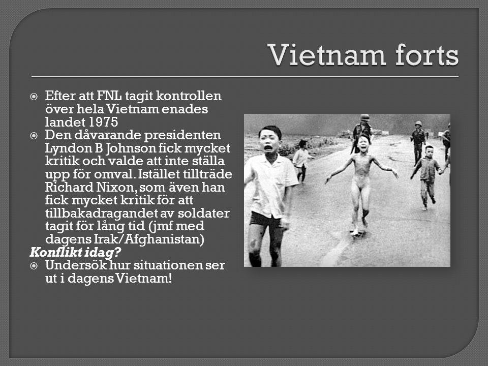  Efter att FNL tagit kontrollen över hela Vietnam enades landet 1975  Den dåvarande presidenten Lyndon B Johnson fick mycket kritik och valde att inte ställa upp för omval.