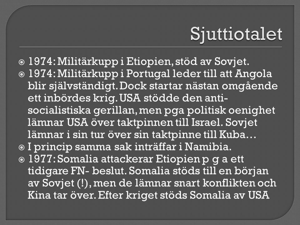  1974: Militärkupp i Etiopien, stöd av Sovjet.  1974: Militärkupp i Portugal leder till att Angola blir självständigt. Dock startar nästan omgående