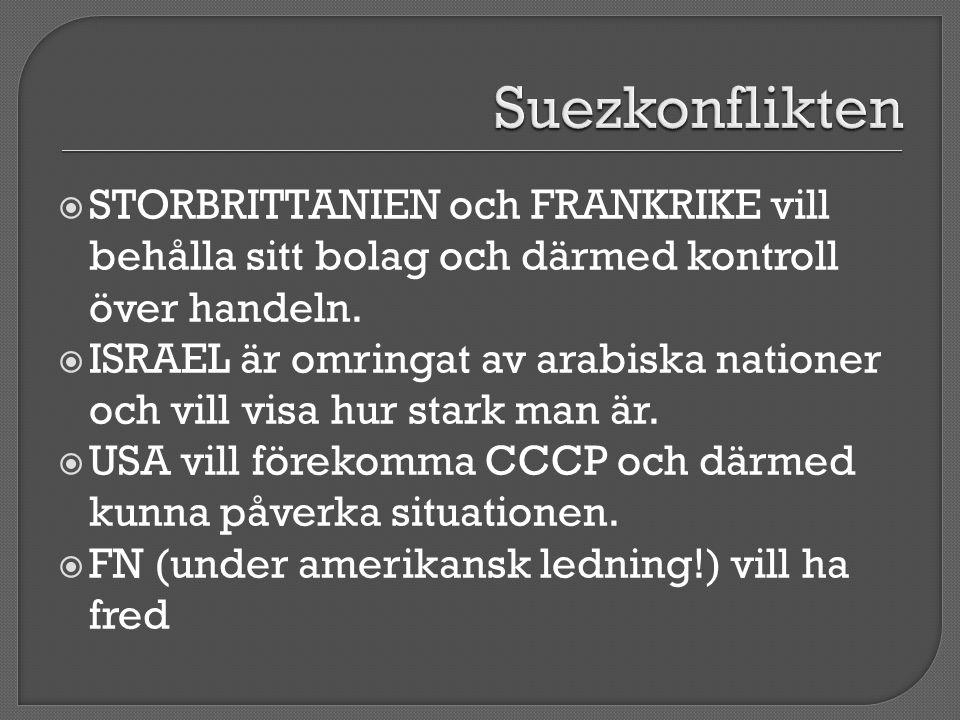  STORBRITTANIEN och FRANKRIKE vill behålla sitt bolag och därmed kontroll över handeln.  ISRAEL är omringat av arabiska nationer och vill visa hur s
