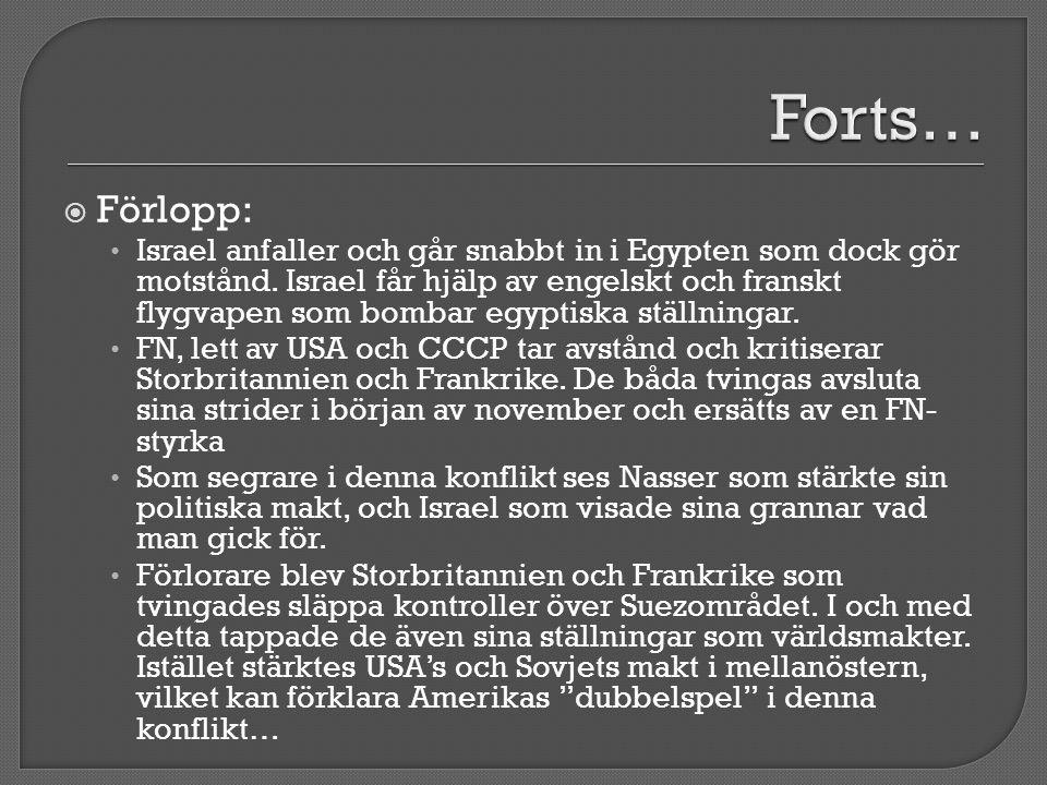  Förlopp: • Israel anfaller och går snabbt in i Egypten som dock gör motstånd. Israel får hjälp av engelskt och franskt flygvapen som bombar egyptisk