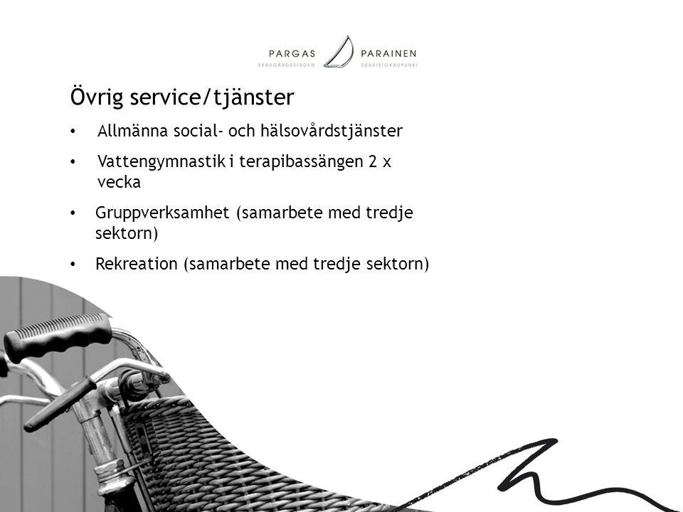 Övrig service/tjänster • Allmänna social- och hälsovårdstjänster • Vattengymnastik i terapibassängen 2 x vecka • Gruppverksamhet (samarbete med tredje