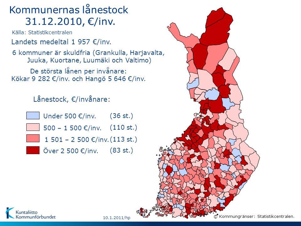 10.1.2011/hp (36 st.) 500 – 1 500 €/inv. Lånestock, €/invånare: (113 st.) 1 501 – 2 500 €/inv.