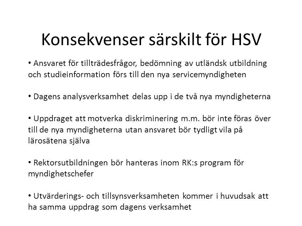 Konsekvenser särskilt för HSV • Ansvaret för tillträdesfrågor, bedömning av utländsk utbildning och studieinformation förs till den nya servicemyndigheten • Dagens analysverksamhet delas upp i de två nya myndigheterna • Uppdraget att motverka diskriminering m.m.