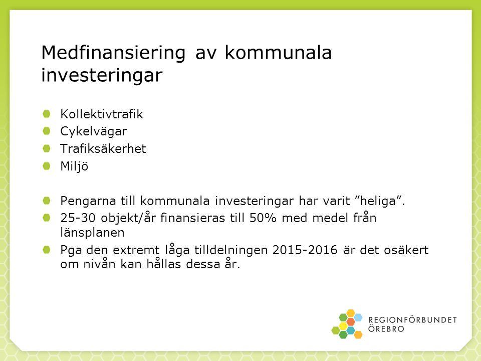 Medfinansiering av kommunala investeringar Kollektivtrafik Cykelvägar Trafiksäkerhet Miljö Pengarna till kommunala investeringar har varit heliga .