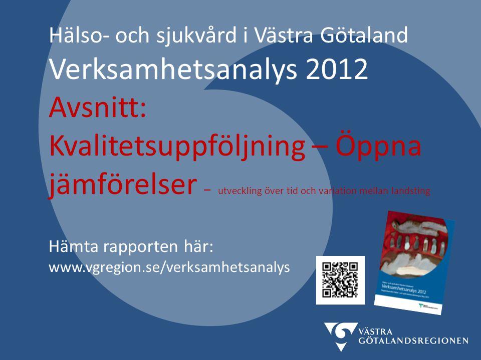Hälso- och sjukvård i Västra Götaland Verksamhetsanalys 2012 Avsnitt: Kvalitetsuppföljning – Öppna jämförelser – utveckling över tid och variation mel
