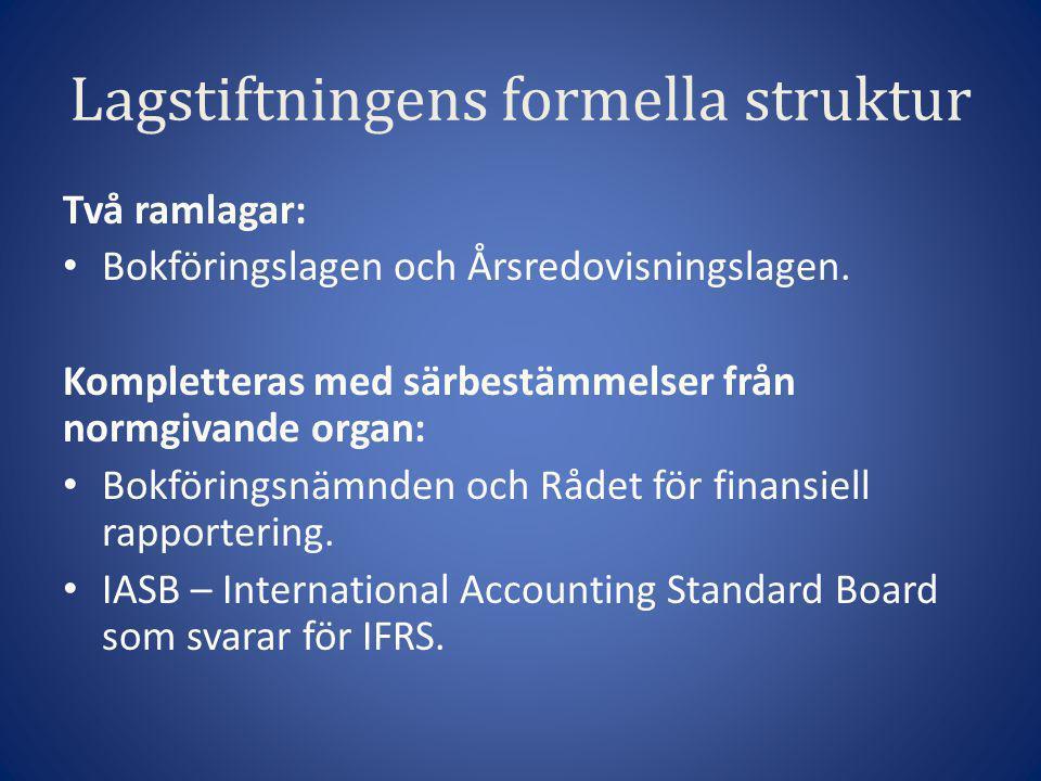 Lagstiftningens formella struktur Två ramlagar: • Bokföringslagen och Årsredovisningslagen. Kompletteras med särbestämmelser från normgivande organ: •