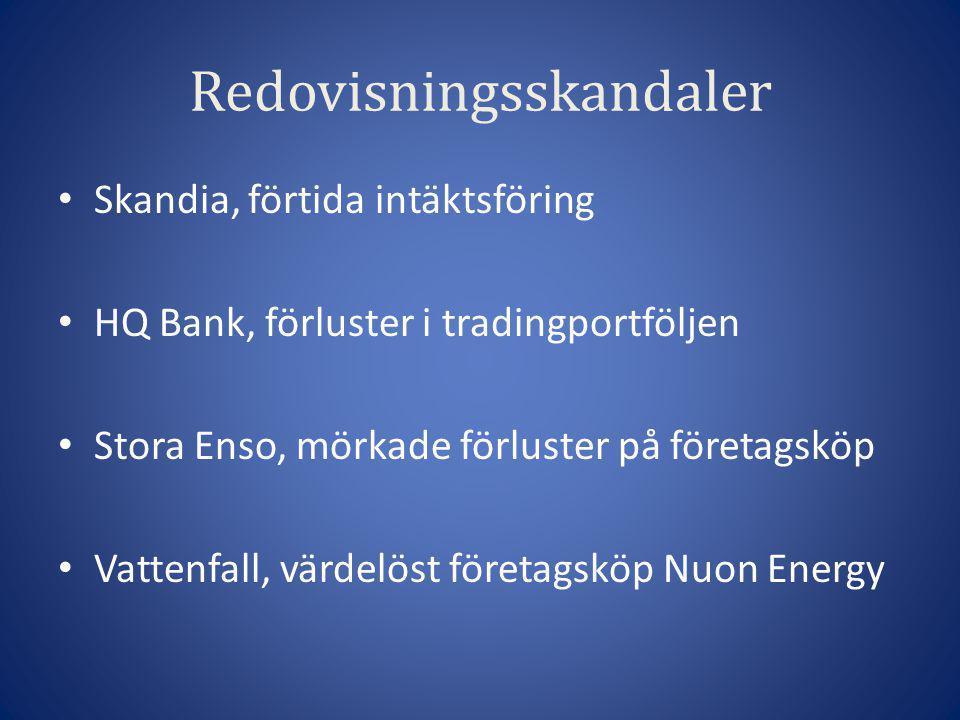 Redovisningsskandaler • Skandia, förtida intäktsföring • HQ Bank, förluster i tradingportföljen • Stora Enso, mörkade förluster på företagsköp • Vatte