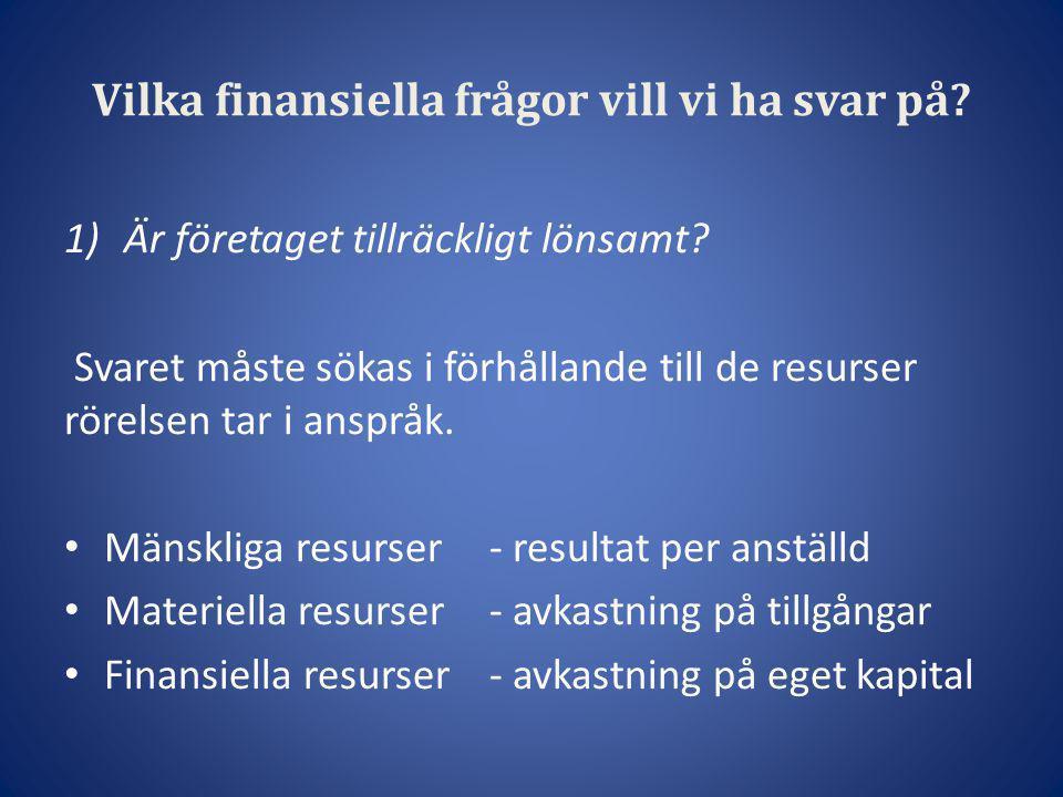 Vilka finansiella frågor vill vi ha svar på? 1)Är företaget tillräckligt lönsamt? Svaret måste sökas i förhållande till de resurser rörelsen tar i ans