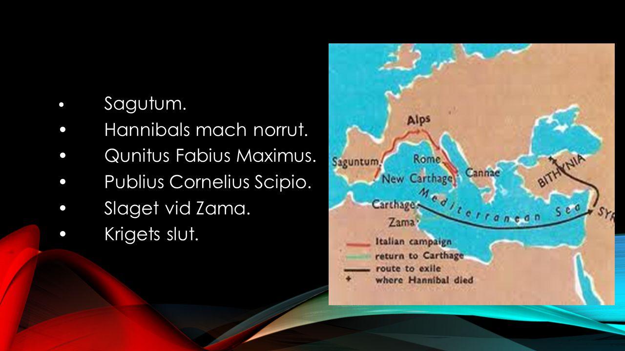 • Sagutum. •Hannibals mach norrut. •Qunitus Fabius Maximus. •Publius Cornelius Scipio. •Slaget vid Zama. •Krigets slut.