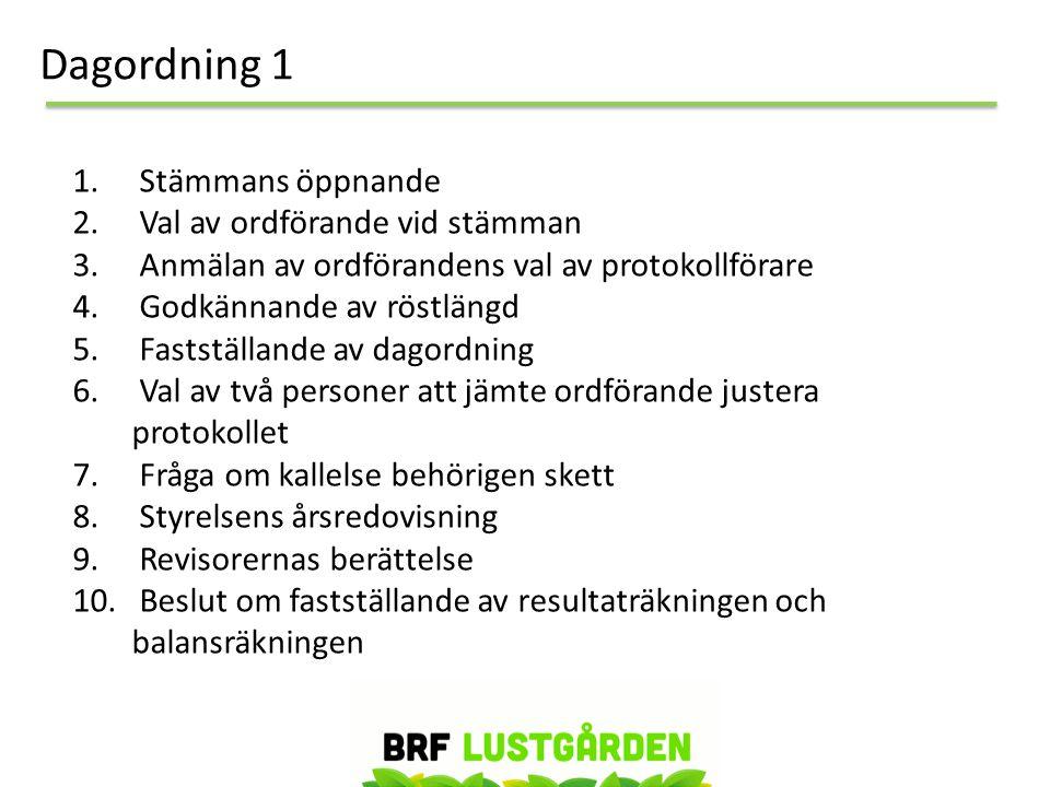 Dagordning 1 1.Stämmans öppnande 2. Val av ordförande vid stämman 3.