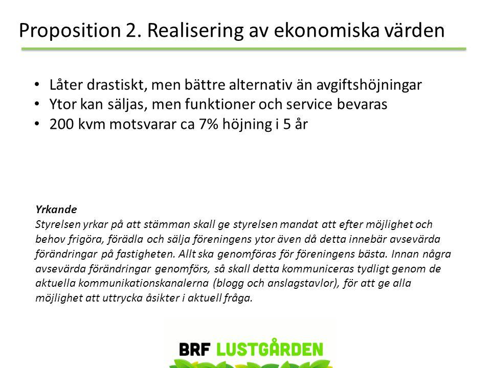 Proposition 2. Realisering av ekonomiska värden • Låter drastiskt, men bättre alternativ än avgiftshöjningar • Ytor kan säljas, men funktioner och ser